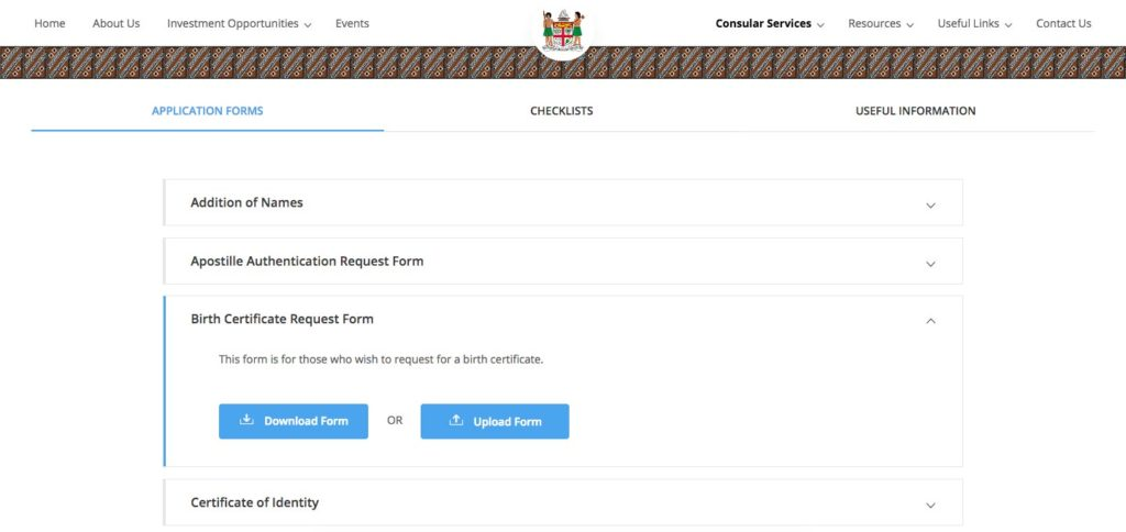 Online Applications – Fiji Consulate General & Trade Commission